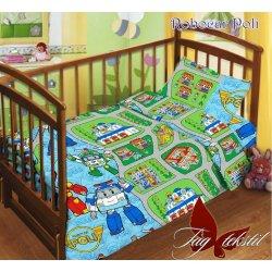 Детское постельное бельё в кроватку для новорожденных TAG поплин Робокар Поли