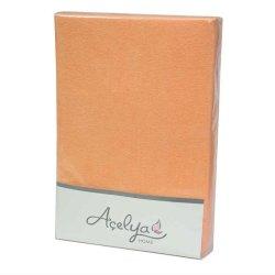 Простынь на резинке махровая Acelya оранжевая 160х200+30