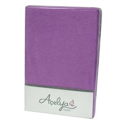 Простынь на резинке махровая Acelya фиолетовая 160х200+30
