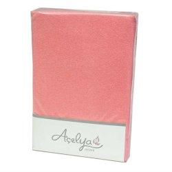 Простынь на резинке махровая Acelya розовая 160х200