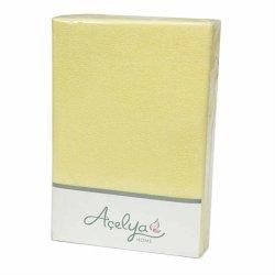 Простынь на резинке махровая Acelya желтая 160х200+30