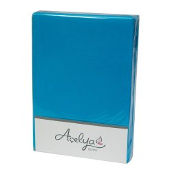 Простынь на резинке трикотажная Acelya голубая 160х200