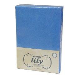 Простынь на резинке махровая Acelya Lily синяя 160х200