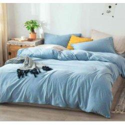 Фланелевое постельное бельё однотонное голубое Almira Mix