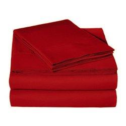 Круглая простынь на резинке фланелевая Almira Mix Красная