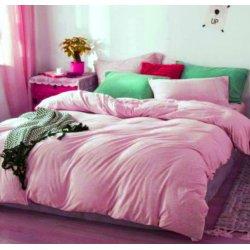Фланелевое постельное бельё однотонное розовое Almira Mix