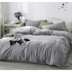 Фланелевое постельное бельё однотонное серое Almira Mix