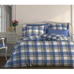 Фланелевое постельное белье Almira Mix Клетка синяя