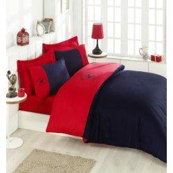Элитное постельное бельё Beverly Hills Polo Club сатин 106 Red Dark Blue евро