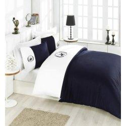 Элитное постельное бельё Beverly Hills Polo Club 106 White Dark Blue евро