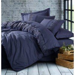 Постельное бельё Cotton Box ранфорс с вышивкой Enzo Lacivert евро тёмно-синее
