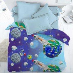 Детское постельное белье Пластилиновый космос поплин