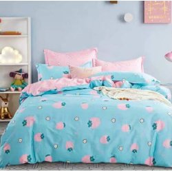 Детское постельное белье Cotton Twill Клубника на голубом сатин