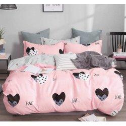 Постельное белье Cotton Twill сатин премиум Сердечки на розовом