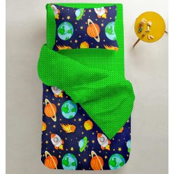Детское постельное белье Cosas Space зеленый в горошек