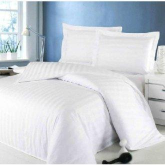 Белое постельное бельё Премиум сатин-страйп 3