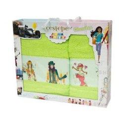 Набор махровых полотенец 3 girls green