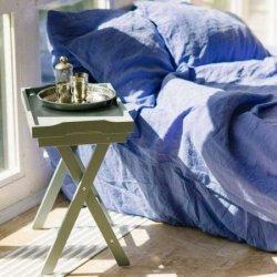 Льняное постельное бельё Blue