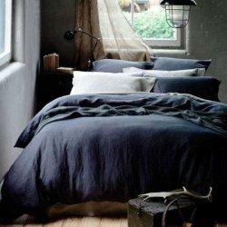 Льняное постельное бельё Dark Blue
