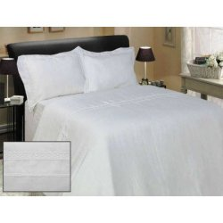 Льняное постельное бельё Белое с кружевом