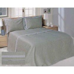 Льняное постельное бельё Серое с кружевом неотбеленное