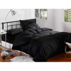 Льняное постельное бельё Чёрное