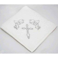 Крыжма для крещения с вышивкой серебро
