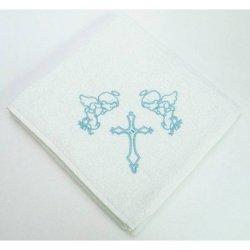 Крыжма для крещения с вышивкой голубая