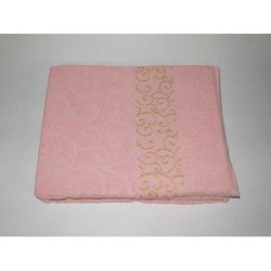 Простынь махровая «Вензель» розовая