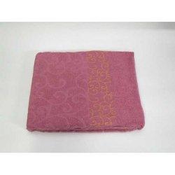 Простынь махровая «Вензель» тёмно-розовая