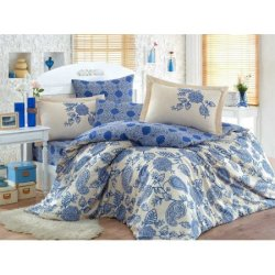 Постельное бельё евро Hobby Exclusive Sateen Antonia синее