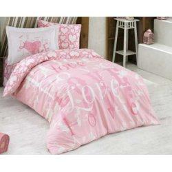 Подростковое постельное бельё Love розовое