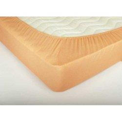 Простынь на резинке махровая 160х200х25 Персиковая