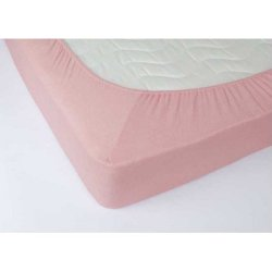 Простынь на резинке махровая 160х200х25 Розовая
