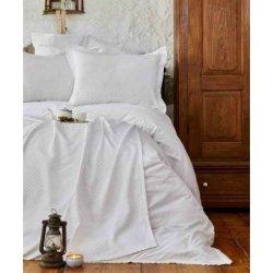 Элитное постельное бельё Karaca Home + плед-пике Julita White