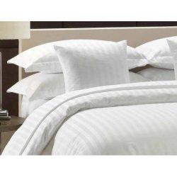 Комплект белого постельного белья Вилюта Tiare White сатин-страйп