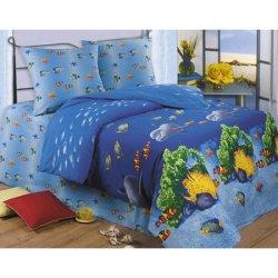 Полуторный комплект постельного белья «Дельфины»