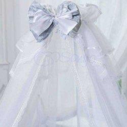 Балдахин All Baby white with grey bow