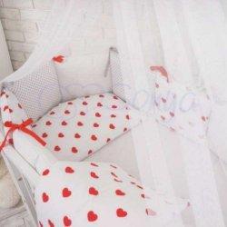 Детский комплект сменный Red hearts на овальную кроватку