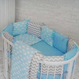 Детский комплект сменный Облака на овальную кроватку