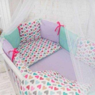 Детский комплект сменный Разноцветные сердечки на овальную кроватку