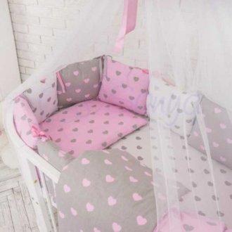 Детский комплект сменный Розовые сердечки на овальную кроватку