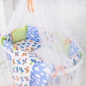 Детский комплект сменный Самолеты на овальную кроватку