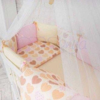Детский комплект сменный Ванильные сердеечки на овальную кроватку