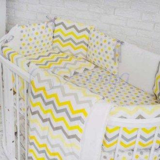 Детский комплект сменный Желтые зигзаги на овальную кроватку