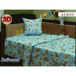 Комплект постельного белья «Зайчики» в детскую кроватку