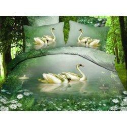 "Постельное бельё 3Д ""Swans lake"""