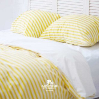 Постельное белье Хлопковые Традиции поплин PF057 белое с жёлтым