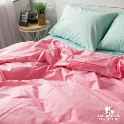 Постельное белье Хлопковые Традиции поплин PF10 розовый с голубым