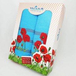 Подарочный набор махровых полотенец  «Маки»